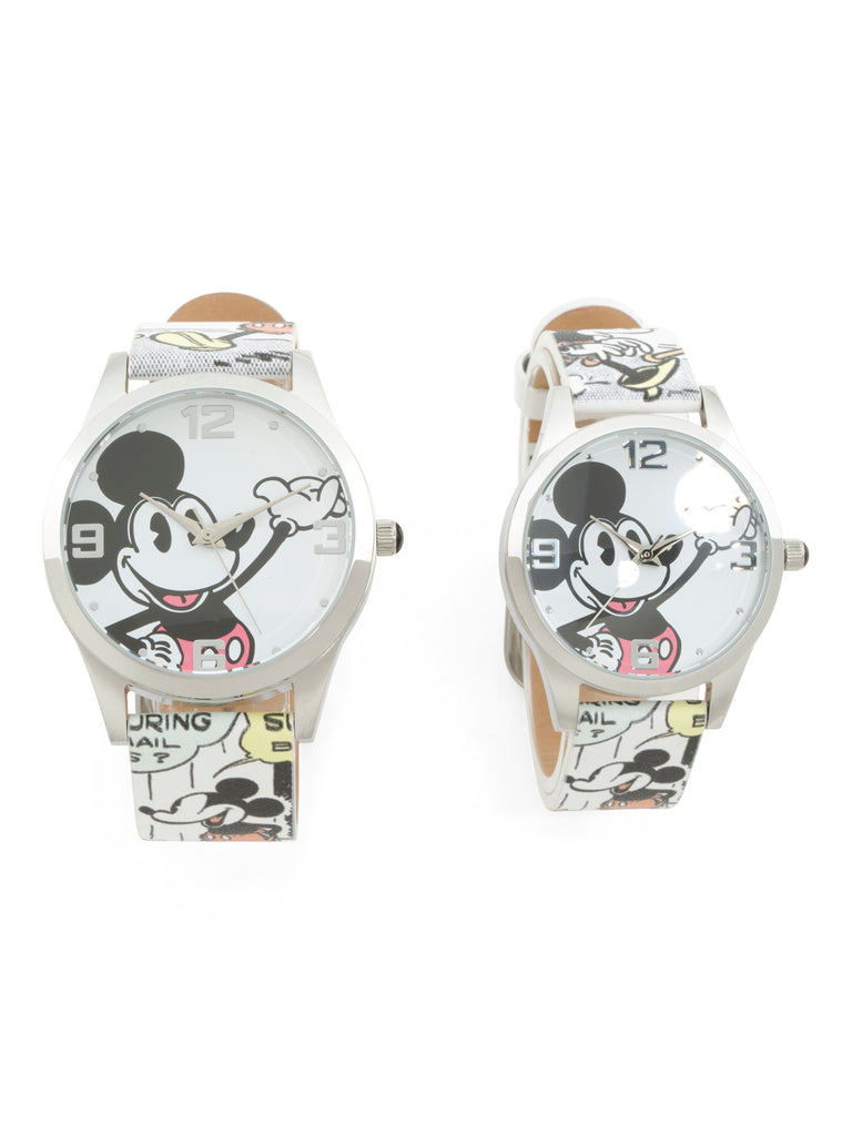 Disney Mickey & Minnie Mouse Watch for Couple His and Hers Artwork Leather Strap Watches Box Set