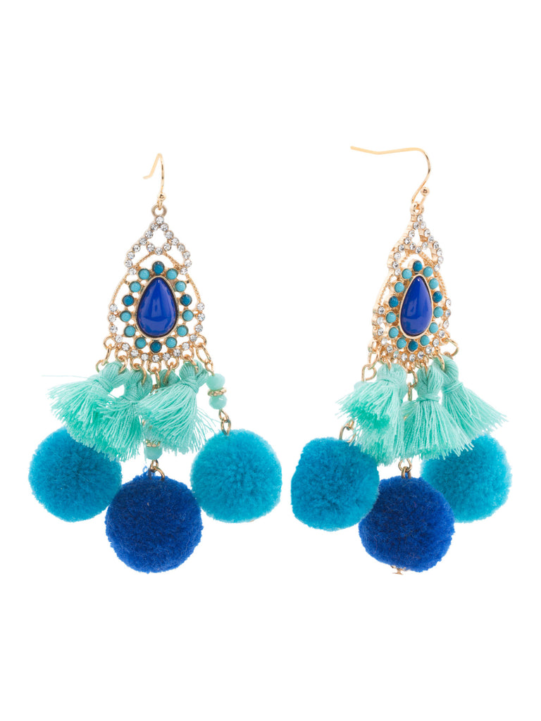 NOIR Pom Pom Chandelier Earrings