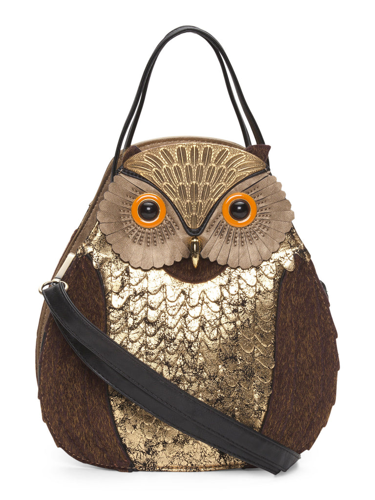 ALYSSA Large Gold Owl Bag - PitaPats.com