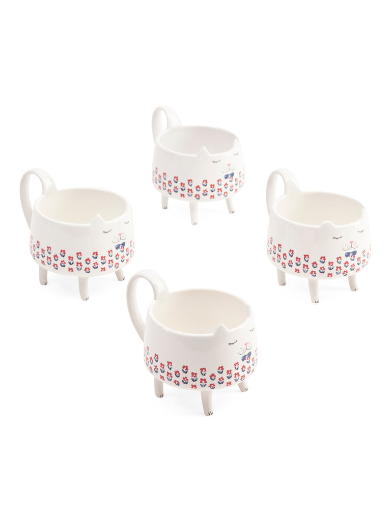 ARLINGTON DESIGNS 4pk Flower Bowtie Cat Mugs set - PitaPats.com