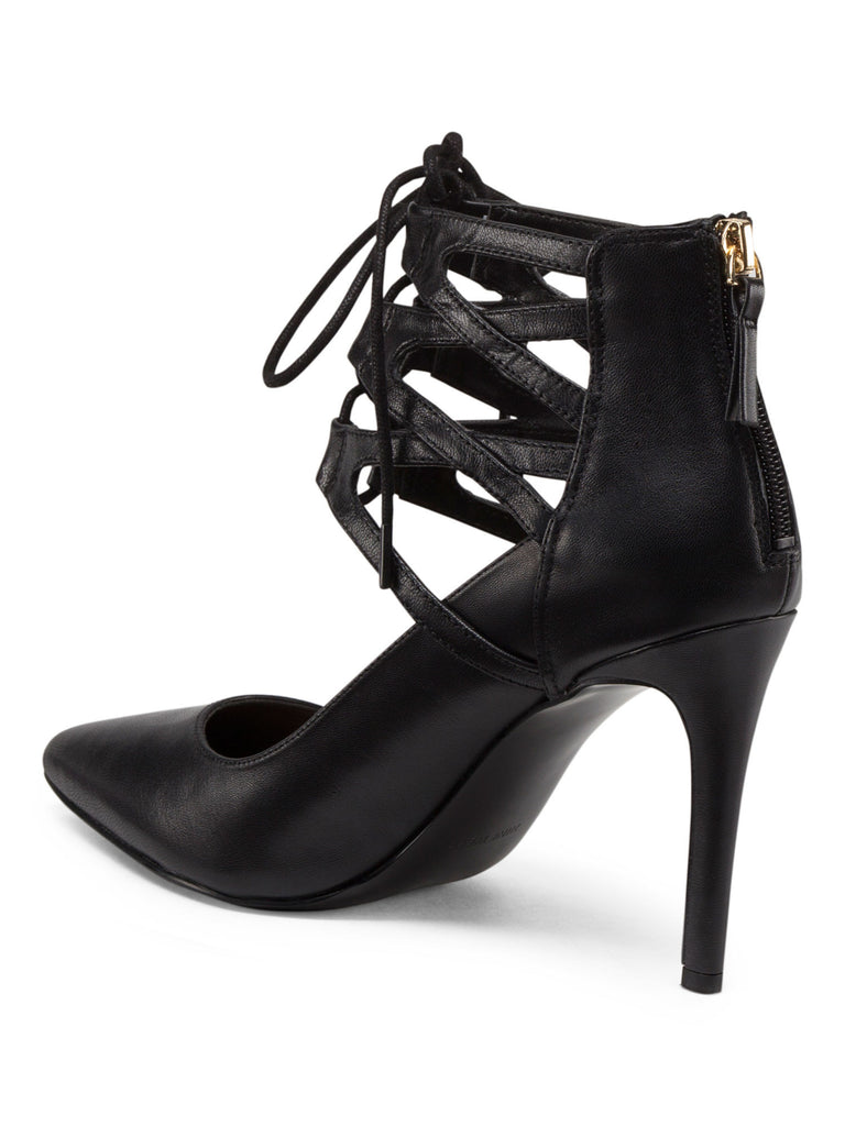 NINE WEST Lace Up Leather Pointy Pumps - PitaPats.com