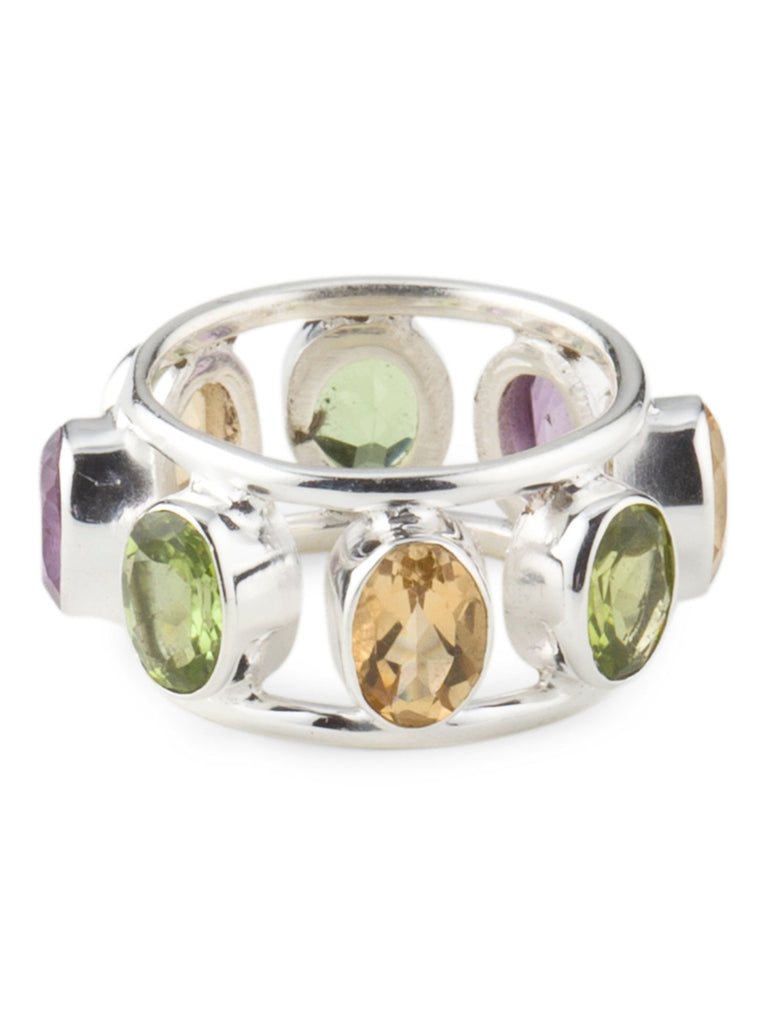 YS Made In India Sterling Silver Multi Gemstone Ring - size 9 - PitaPats.com