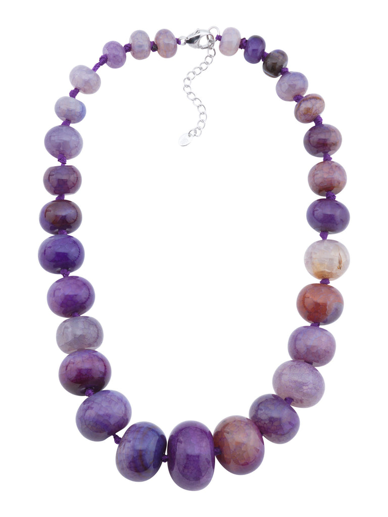 SPRIG Sterling Silver Purple Agate Gumball Graduated Necklace