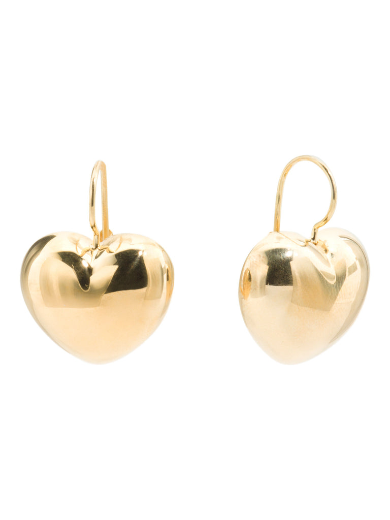 MILOR SILVER Made In Italy 18k Gold Clad Sterling Silver Heart Earrings - PitaPats.com