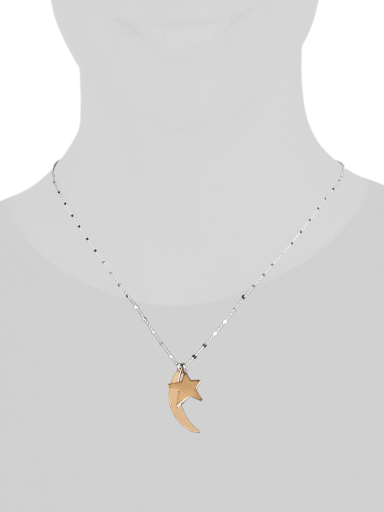 MIA FIORE Made In Italy Two Tone Silver Heart And Moon Necklace - PitaPats.com