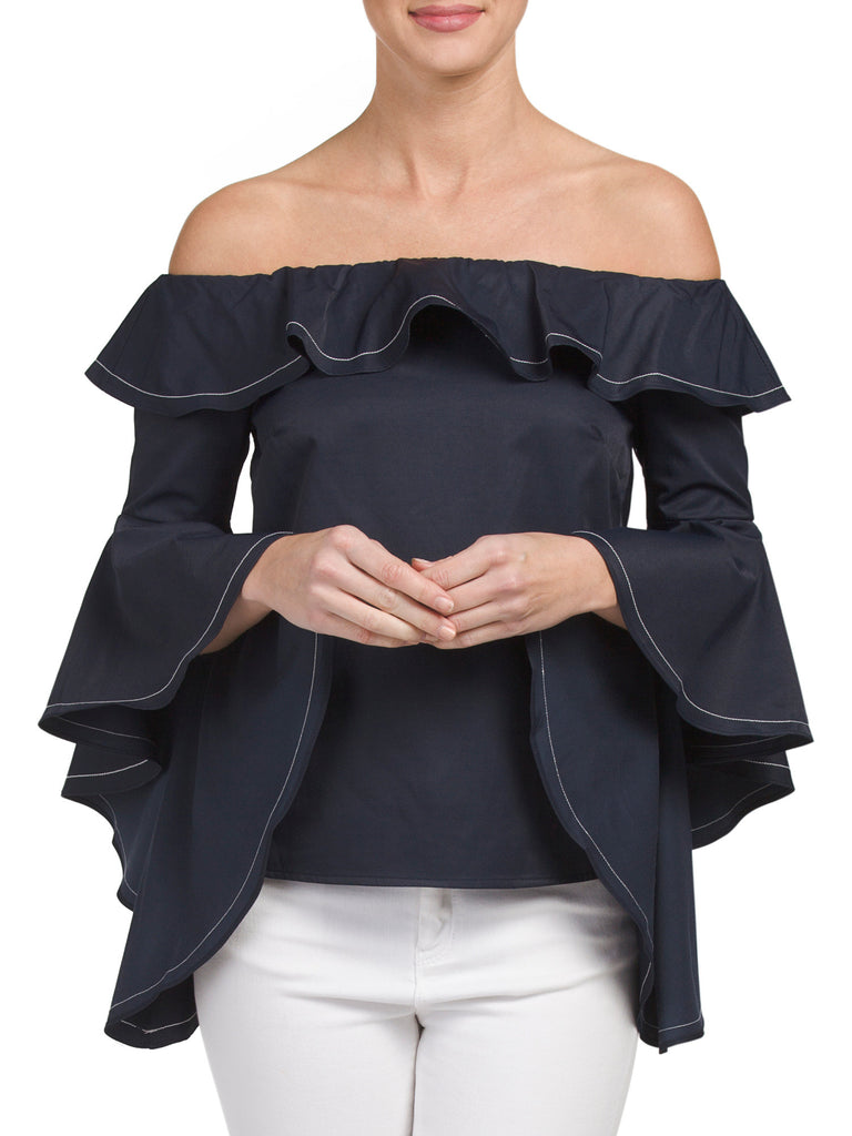 INA Ruffle Bell Sleeve Off the shoulder Top - PitaPats.com
