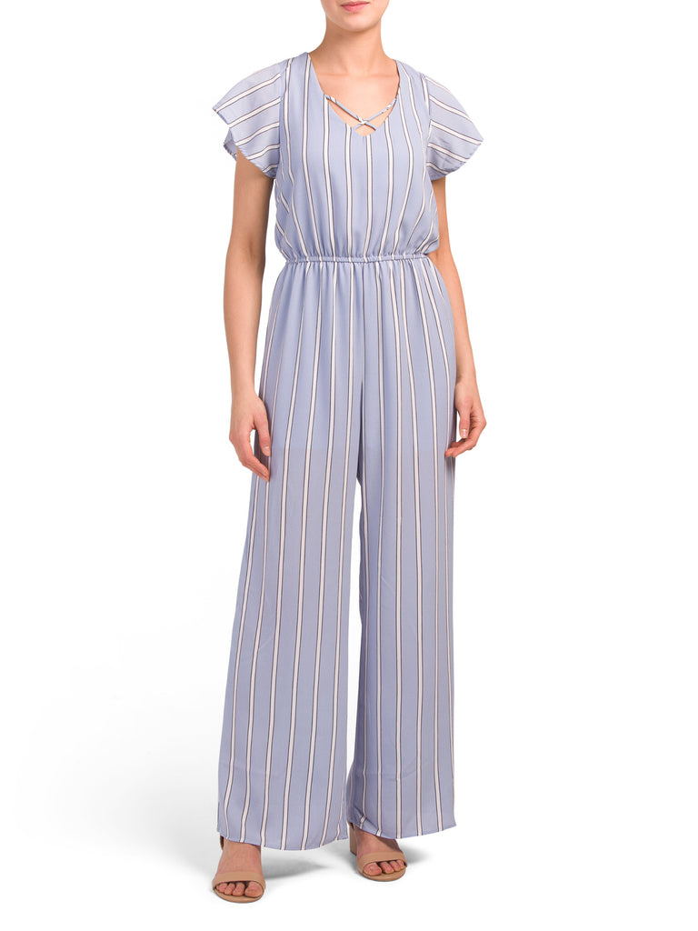 ONE CLOTHING Juniors Stripe X-front Jumpsuit - PitaPats.com