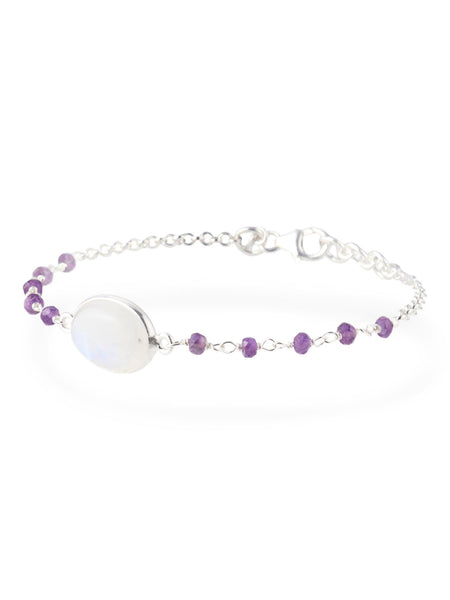 YS Made In India Rainbow Moonstone And Amethyst Bracelet