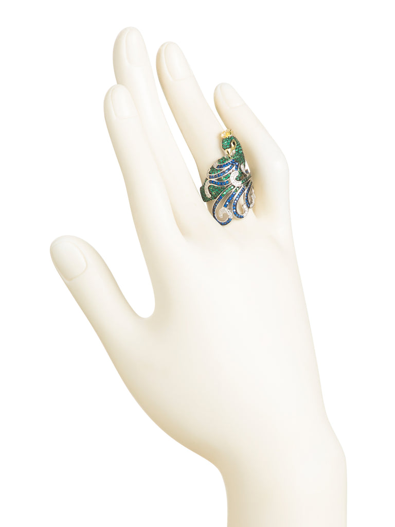 Simulated Gemstone and Cubic Zirconia Green Peacock Ring in Rhodium Over Sterling Silver