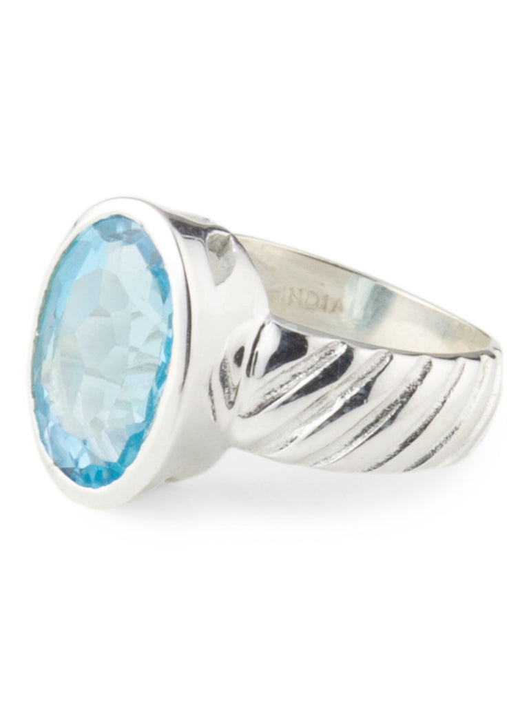 YS Made In India Sterling Silver Blue Topaz Ring - size 9 - PitaPats.com