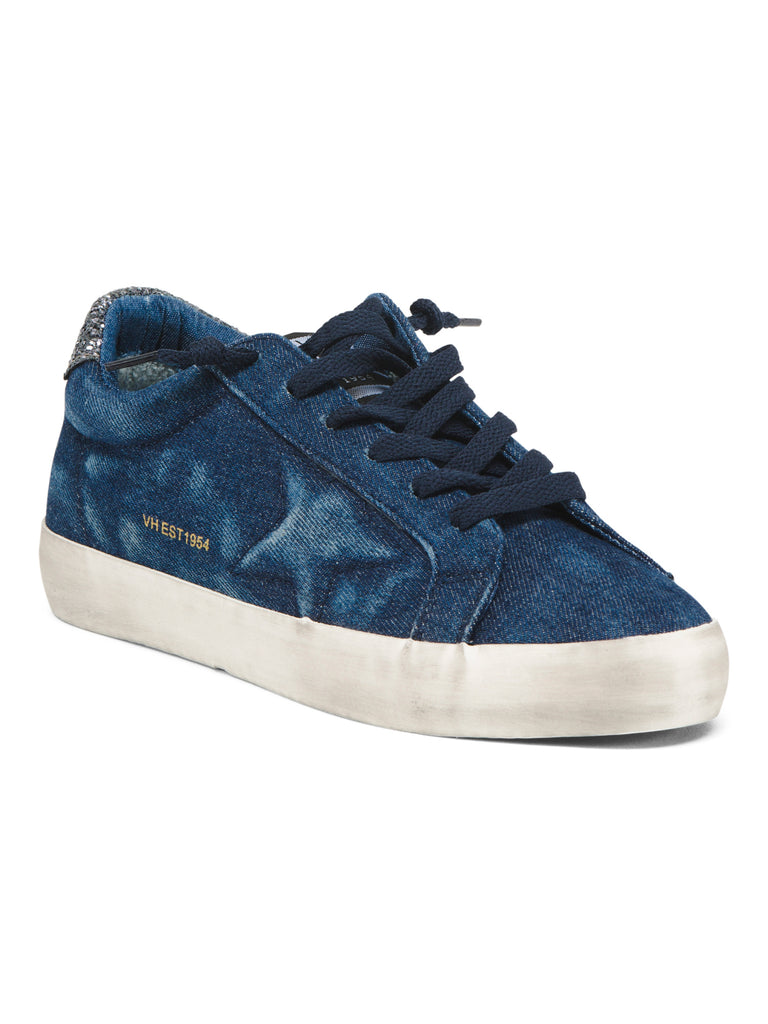 VINTAGE HAVANA Leuca Low-Top Distressed Denim Sneaker