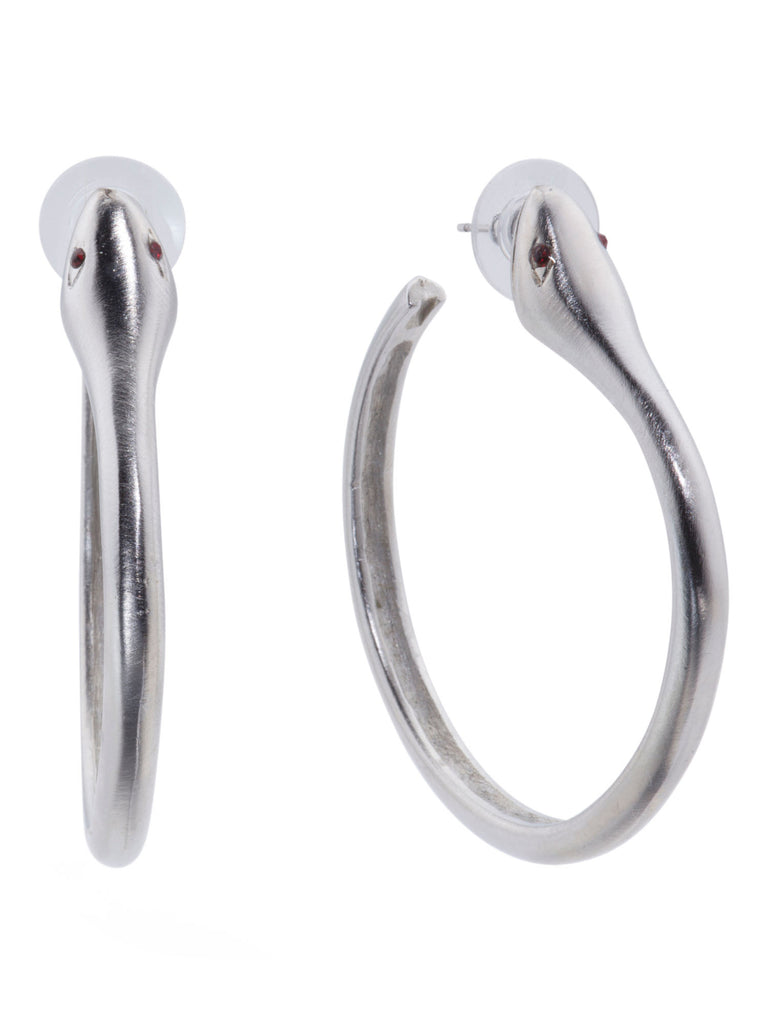 KENNETH JAY LANE Made In USA Silver Tone Snake Hoop Earrings - PitaPats.com