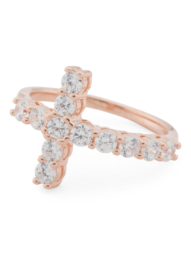 DIAMANTE 14k Rose Gold Plated Sterling Silver Cz East West Cross Ring - PitaPats.com