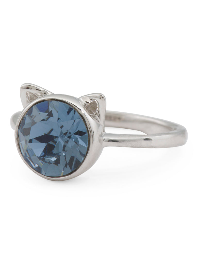 AVA RO Sterling Silver Blue Swarovski Crystal Cat Ears Ring - PitaPats.com
