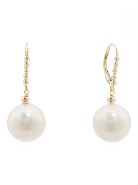 GEORG K. Made In USA 14k Gold Pearl Drop Leverback Earrings