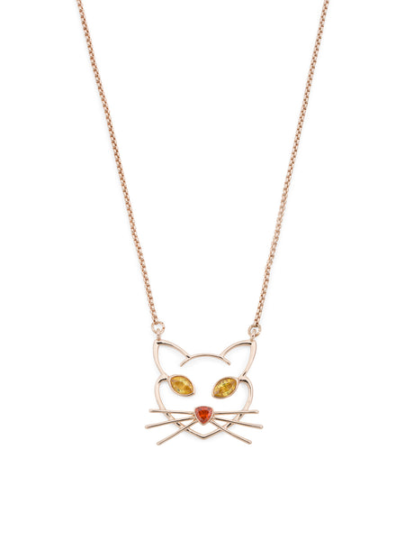 BETSEY JOHNSON Crystal Accent Cat Outline Necklace