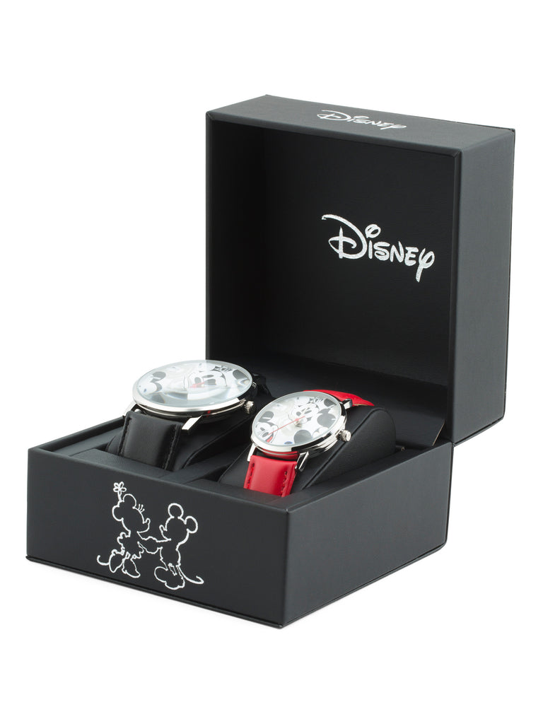 Disney Mickey & Minnie Mouse Watch for Couple His and Hers Red & Black Leather Strap Watches Box Set