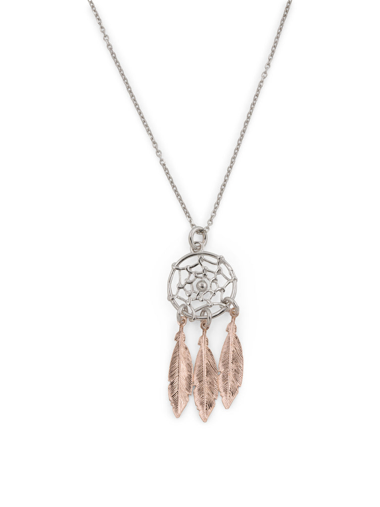 DAVVERO Made In Italy 2 Tone Sterling Silver Dream Catcher Necklace