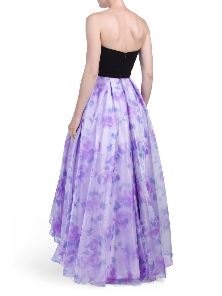 BETSY & ADAM Strapless Floral Ball Gown