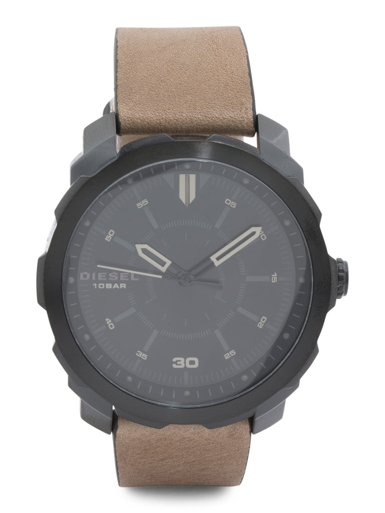 DIESEL Men's Machinus NSBB Leather Strap Watch - PitaPats.com