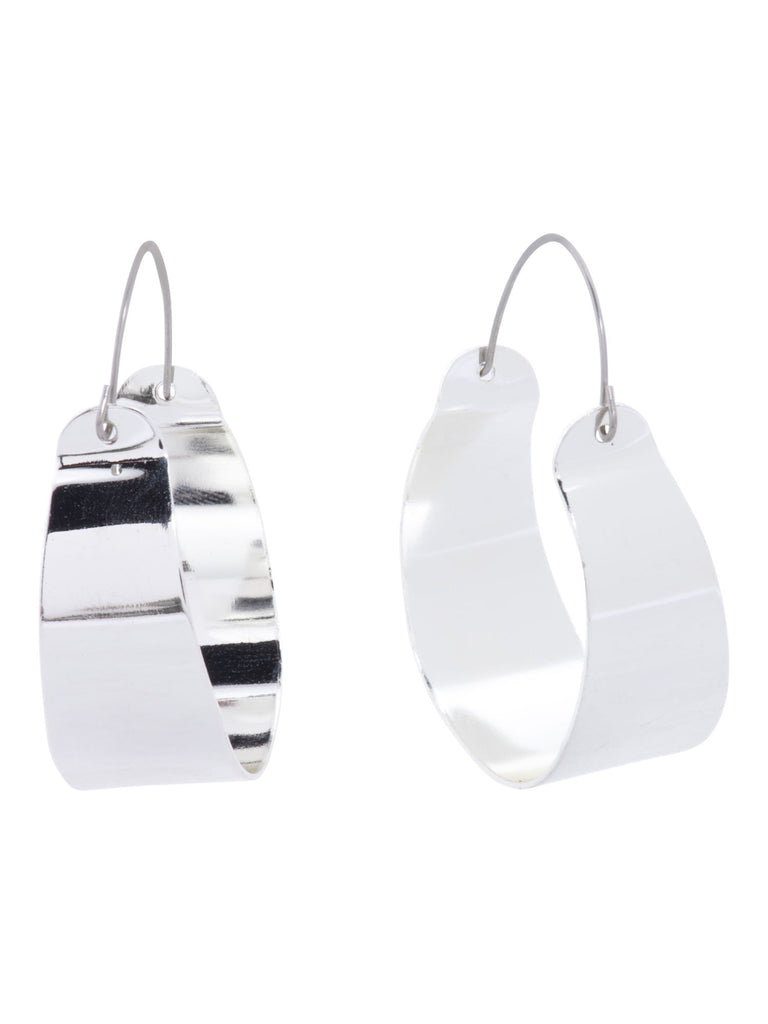 A.V. MAX Made in USA Silver Plated Wide Hoop Earrings - PitaPats.com