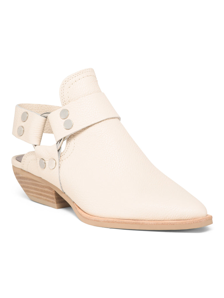 DOLCE VITA URBAN Leather Pointed Toe Open Back BOOTIES IVORY