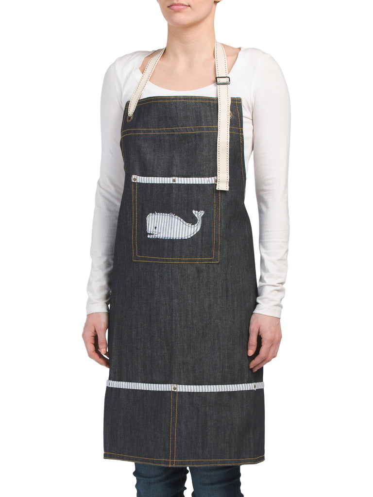 JABARA Applique Whale Heavy Denim Apron - PitaPats.com
