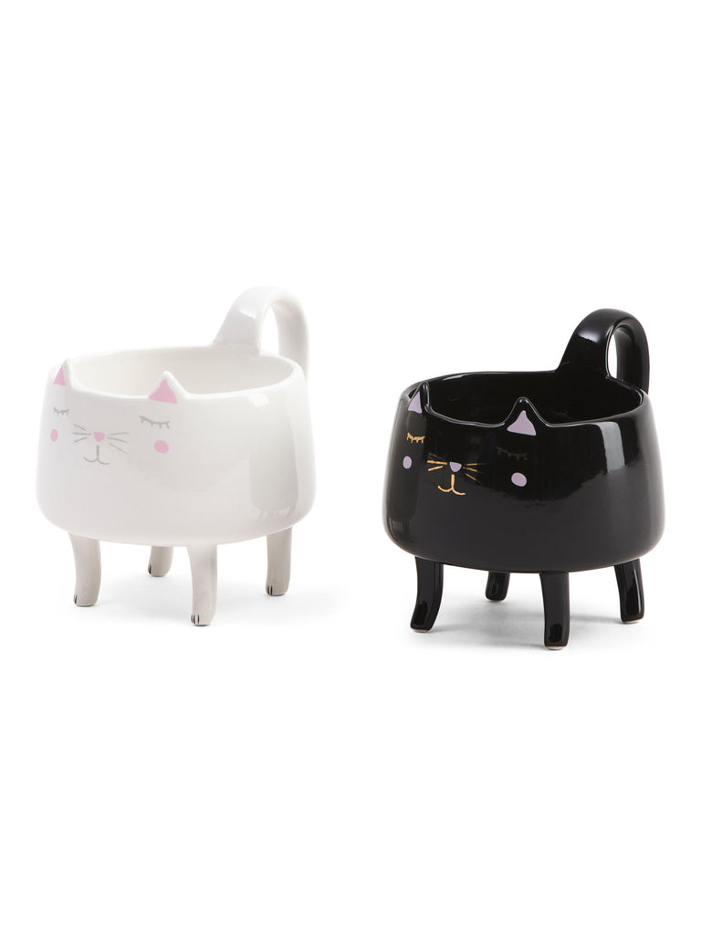 ARLINGTON DESIGNS 2pk Standing Black & White Cat Mugs set - PitaPats.com