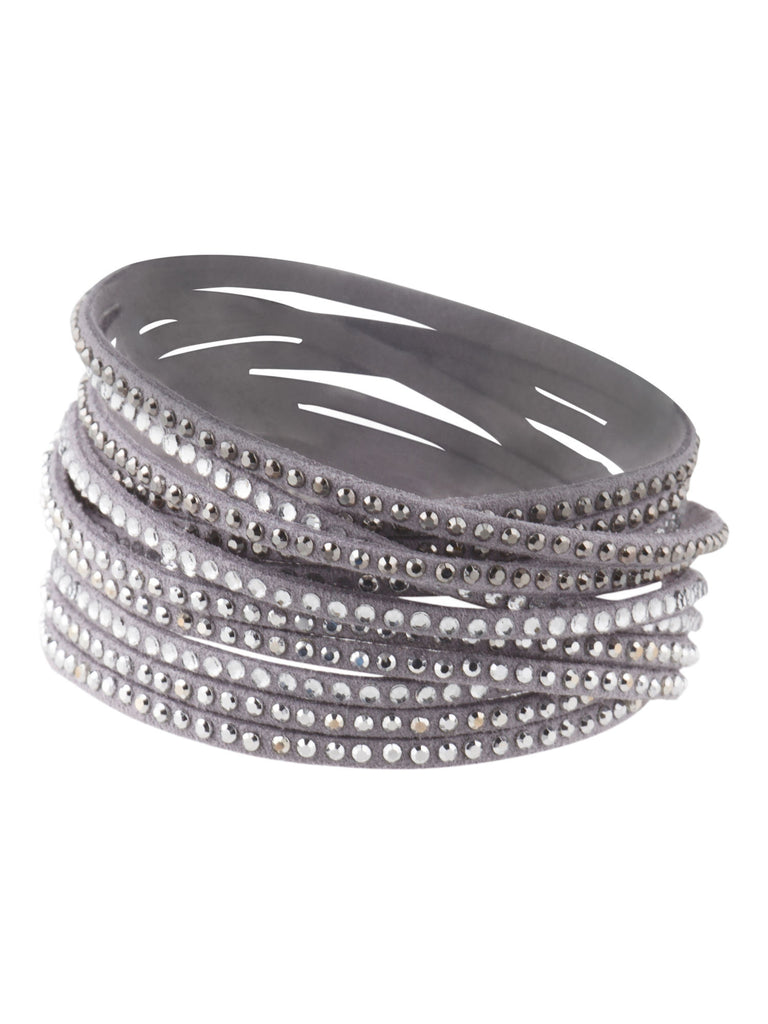 BELLA JACK Crystal Embellished Light Grey Leather Wrap Bracelet - PitaPats.com