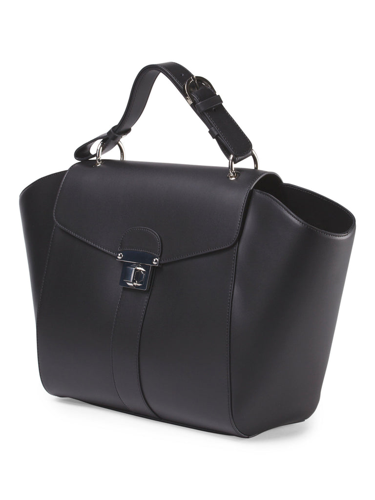 ALBERTA DI CANIO Made In Italy Leather Wing Tote - PitaPats.com