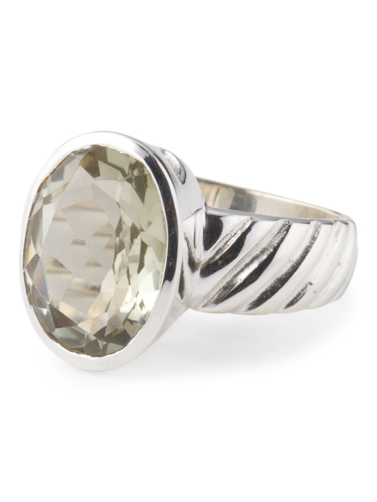 YS Made In India Sterling Silver And Green Amethyst Ring - size 8 - PitaPats.com