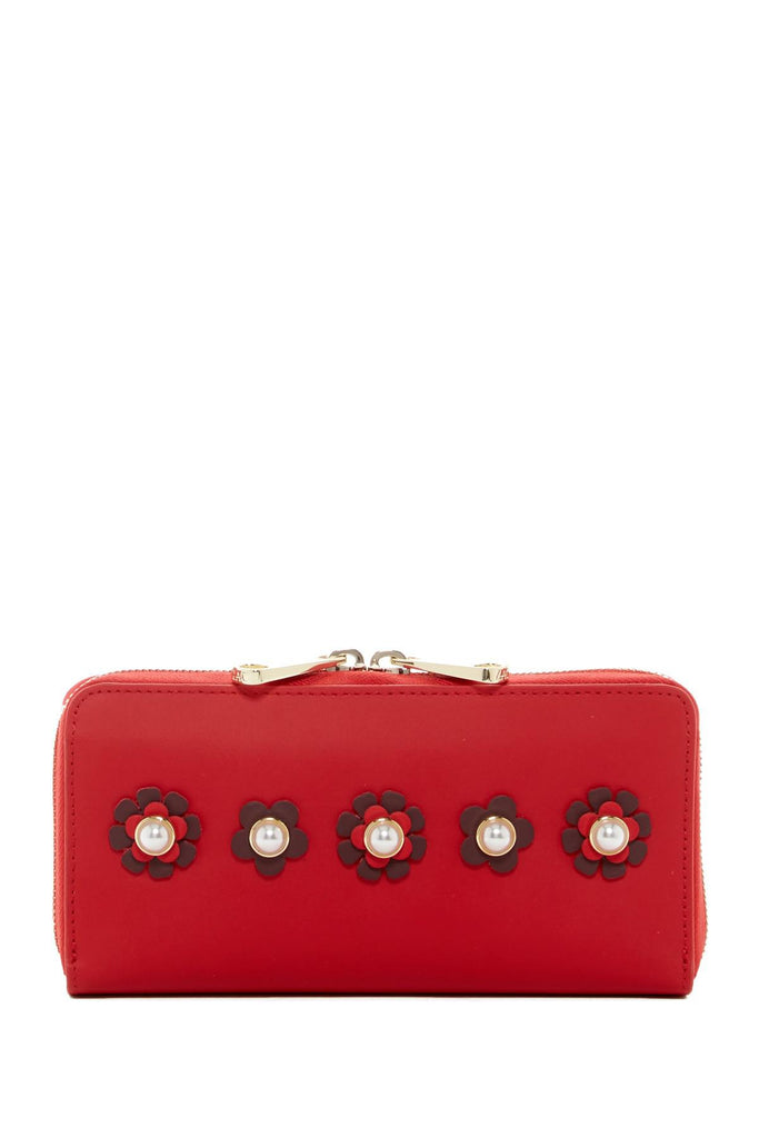 ZAC ZAC POSEN Leather Checkbook Wallet With Floral Applique - PitaPats.com