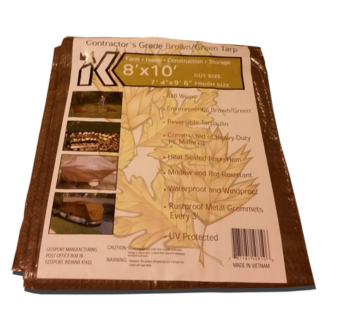 Brown/Green Reversible Poly Tarps All Season-8x8 Weave-Heavy Duty-UV Protected - Tarp Trader