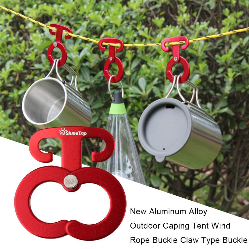 Ultra-light Aluminum Camping Tent Rope Buckle Hook Outdoor Hiking Portable Tent Wind Rope Stopper Tent Accessories