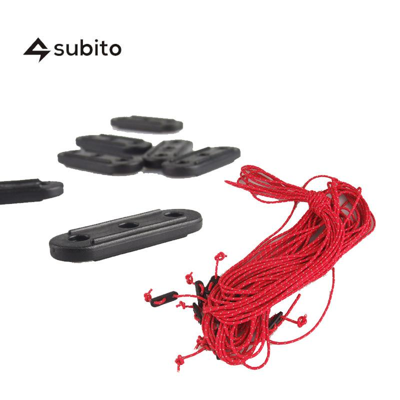 SUBITO Tent Buckle And Tent Rope 20M/20PCS Tent Accessory Camping Equipment Urltra-Light Tarp Tent  Rope,  Buckle With 2M/20pcs