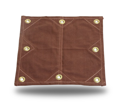 18oz Heavy Duty Canvas Tarp - Reinforced Patches - Brown - Tarp Trader