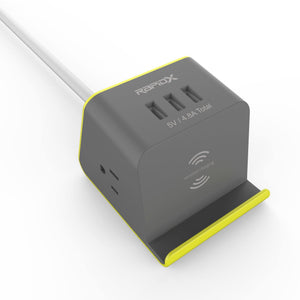 MyDesktop 29W Wireless Charging Stand with 3 USB Ports and 2 Power Outlets - Yellow - RapidX