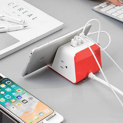 MyDesktop Wireless Charging Stand with 3 USB Ports and 2 Power Outlets for iPhone, Android, Tablets and Laptops - Tangerine