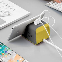 MyDesktop 29W Wireless Charging Stand with 3 USB Ports and 2 Power Outlets - Yellow