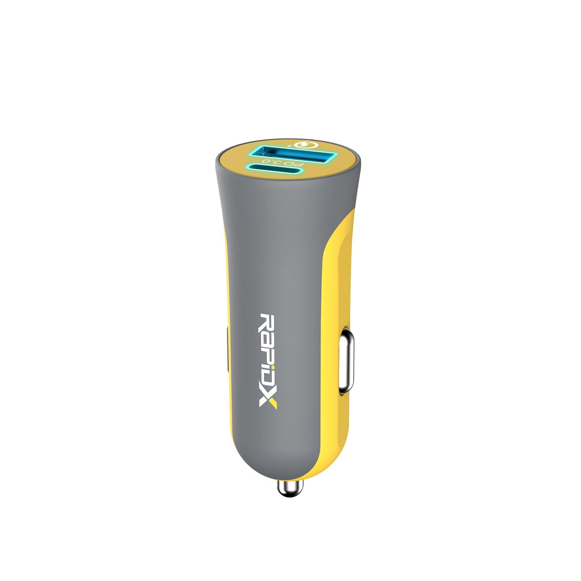 X2PD Compact & Fast Dual Car Charger with 30W USB-C PD - Yellow