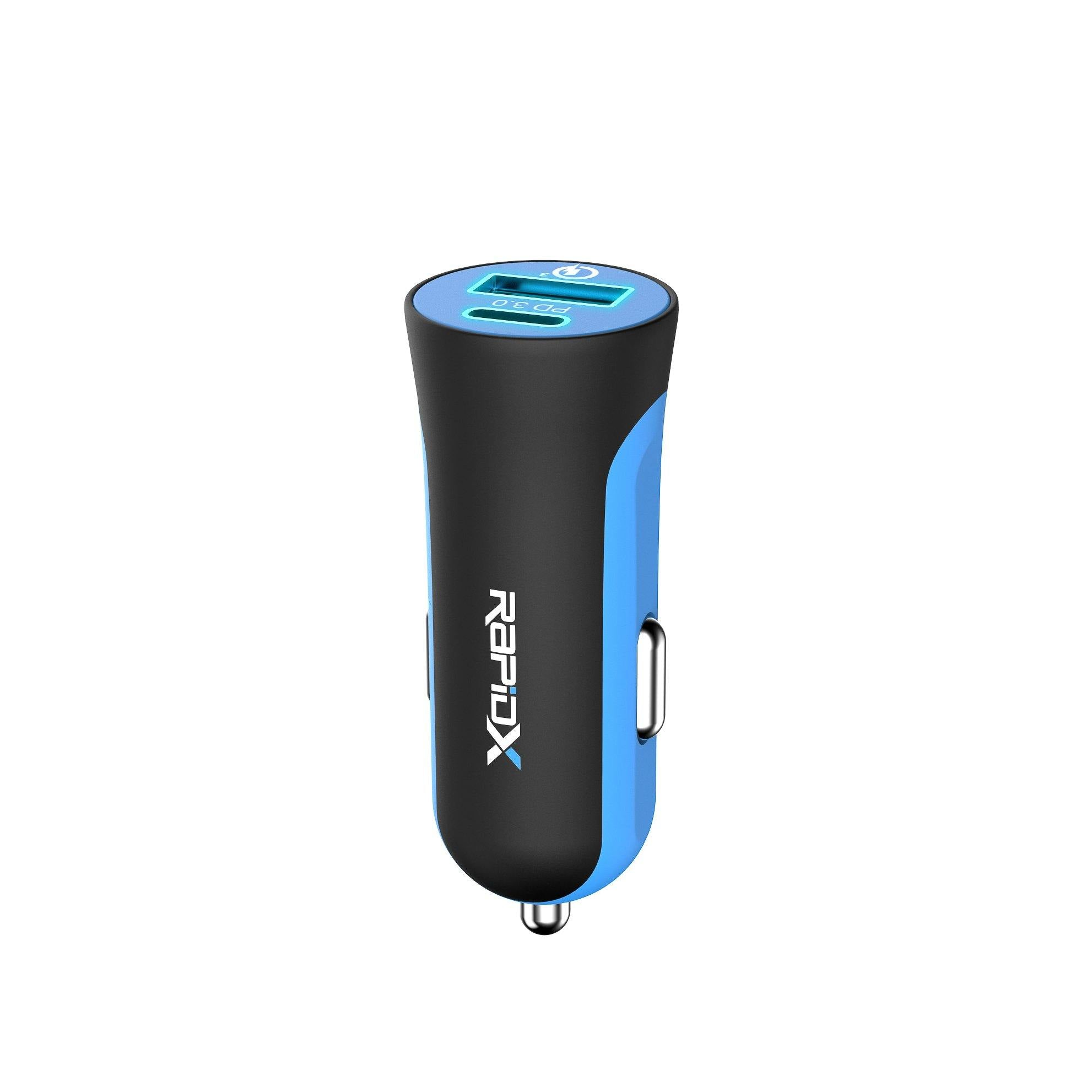 X2PD Compact & Fast Dual Car Charger with 30W USB-C PD - Blue