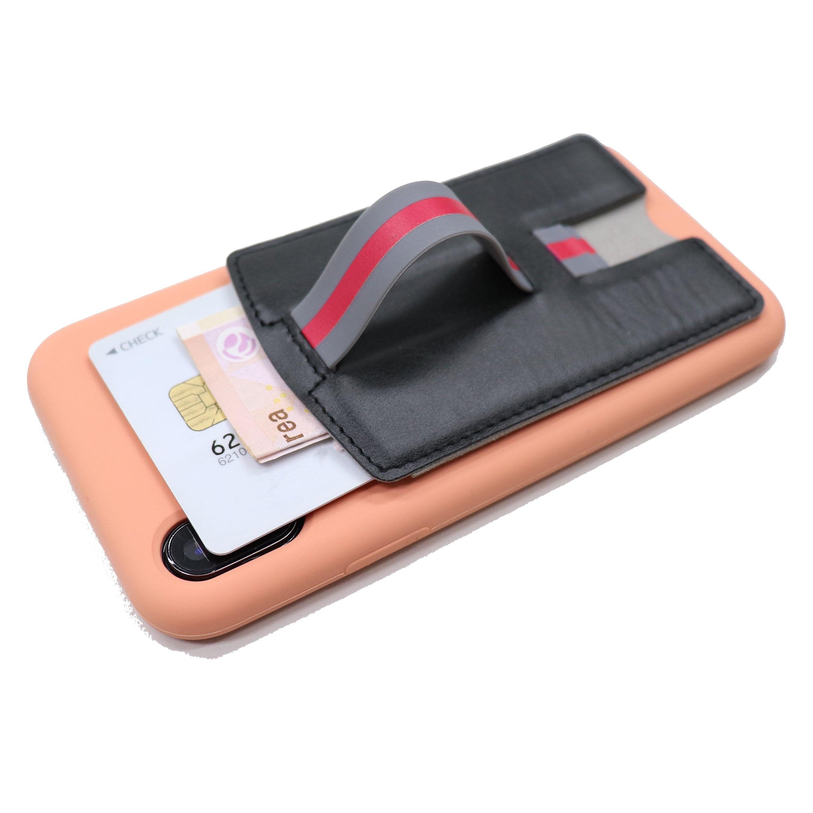 CARI Universal 3 in 1 Phone Wallet with Card Holder, Stand, and Strap - Black