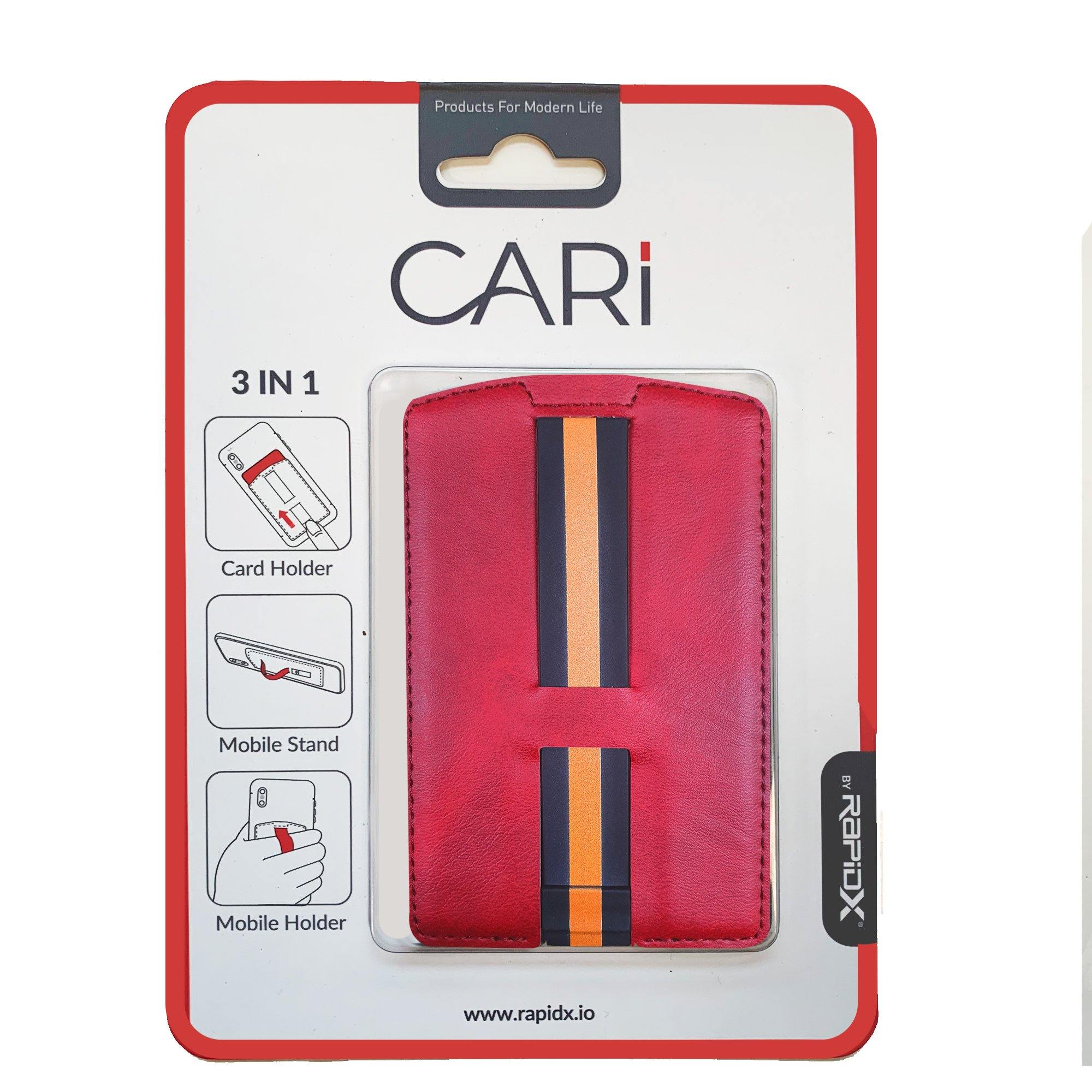 CARI Universal 3 in 1 Phone Wallet with Card Holder, Stand, and Strap - Red