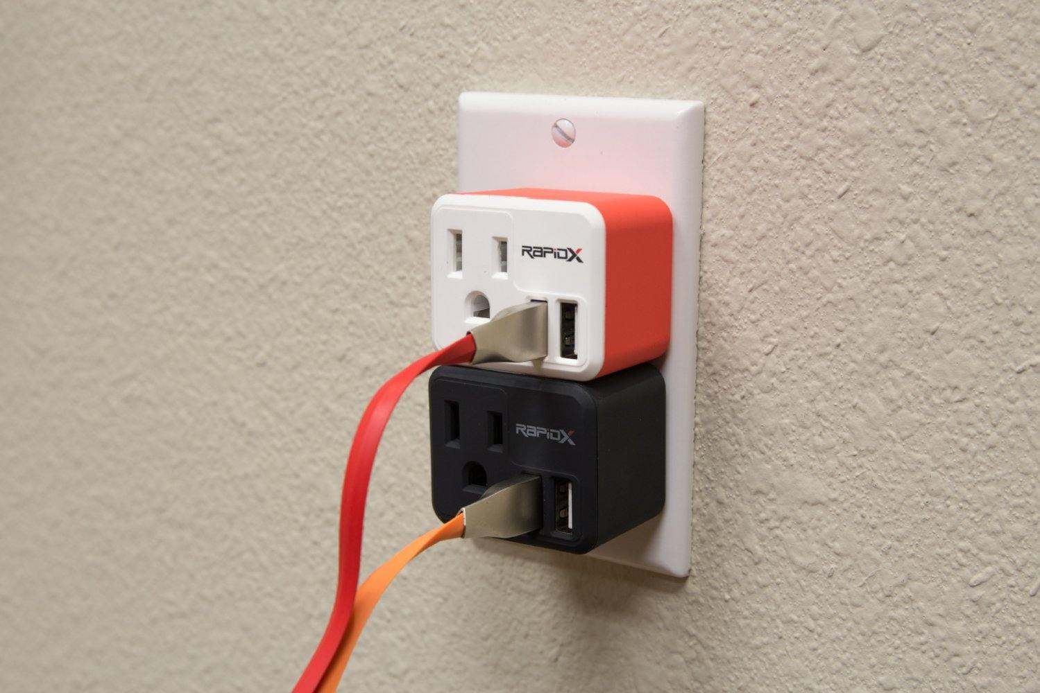 PowX-2 Wall Outlet with 2 USB Ports by RapidX Red