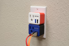 PowX-2 Wall Outlet with 2 USB Ports by RapidX Blue