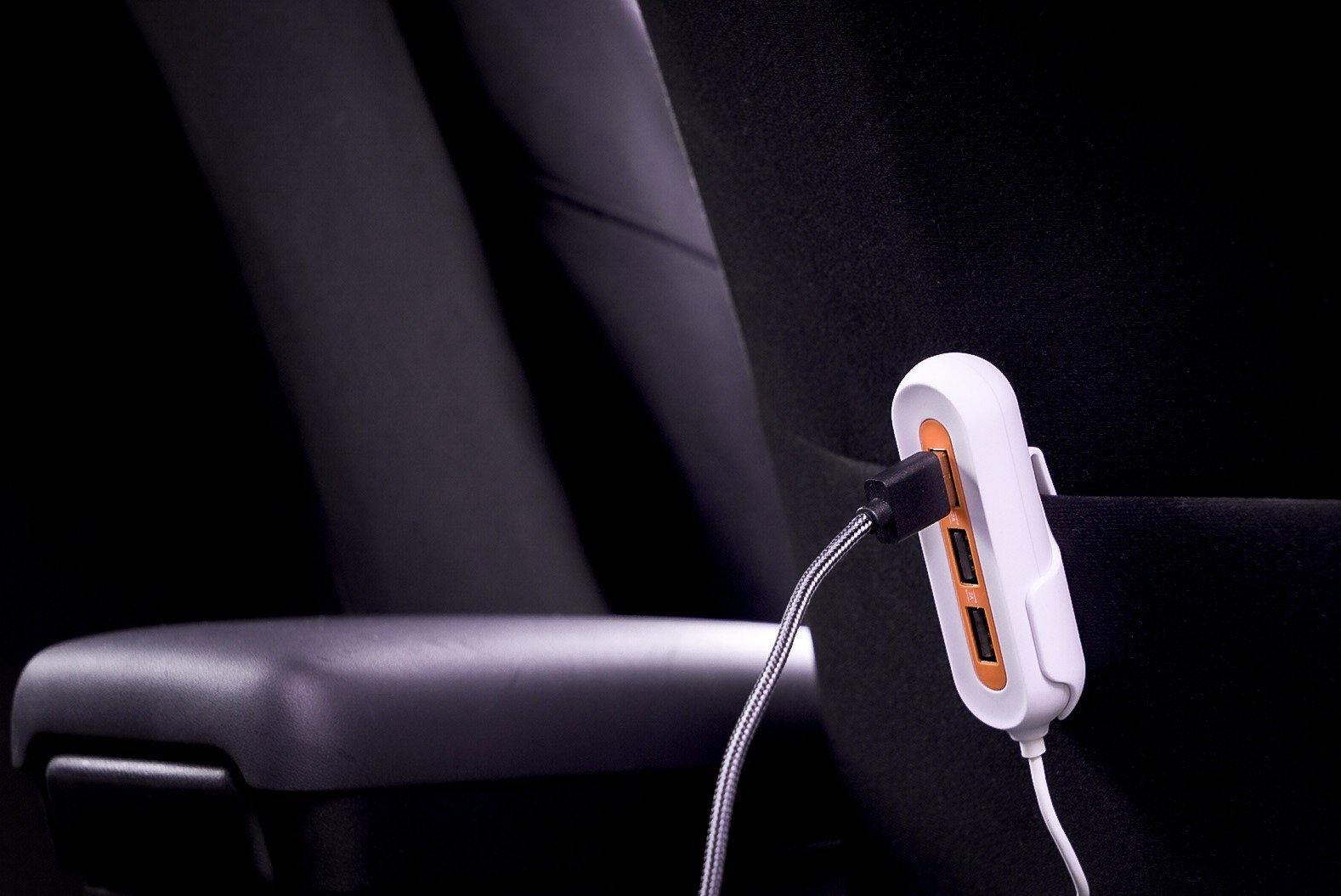 X5 Car Charger with 5 USB Ports - Orange