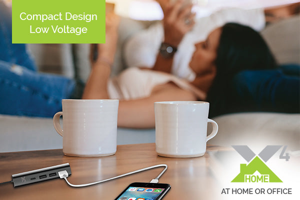 Need a charging station for the home or office? The X4Home is a super compact/low voltage, multi-device charging station. Featuring 3-USB's and 1 fast charging Type-C Port, the X4Home is perfect for charging laptops, smartphones, iPads and tablets.