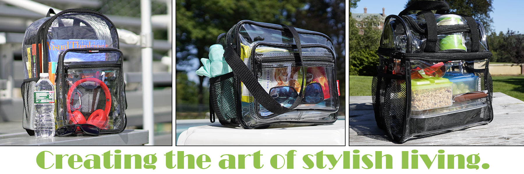 clear backpack, clear messenger bag, clear lunch bag for your everyday needs