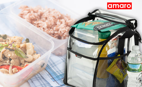 Amaro Delux 0.55mm Clear Large Compartment Lunch Bag for Adult |6 Pack See Through Reusable Lunch Box for Workplace Men and Women Adjustable Shoulder Strap I Large Side Mesh Pockets I Removable insert…