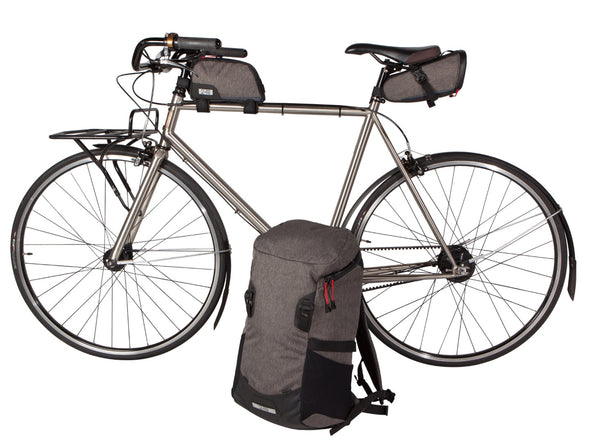 Two Wheel Gear - Commute Backpack, Seat Pack and Top Tube Bag on Bike - Graphite Grey